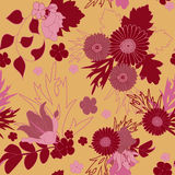 Floral abstract seamless background. Flowers, leaves, foliage.  Stock Photography