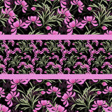 Floral abstract  seamless pattern,black background Royalty Free Stock Image