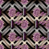 Floral abstract seamless pattern. Modern geometric background. 3. D wallpaper. Gold meander, greek key ornaments. Rhombus, shapes, figures, frames. 3d flowers Royalty Free Stock Photo