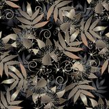 Floral abstract seamless pattern.Modern leafy vector background. Royalty Free Stock Images