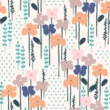 Floral abstract seamless pattern. Vector design for different surfases. Royalty Free Stock Images