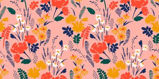 Floral abstract seamless pattern. Vector design for different surfases. Floral seamless pattern. Vector design for paper, cover, fabric, interior decor and royalty free illustration