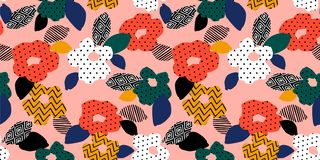 Floral abstract seamless pattern. Vector design for different surfases. stock photography