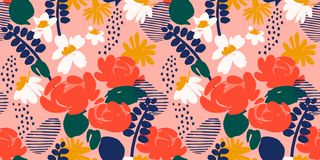Floral abstract seamless pattern. Vector design for different surfases. stock photos