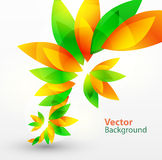 Floral abstract vector background. With green and orange leaves Stock Photography