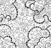 Floral abstract vector seamless pattern with leaves, flowers, curling lines Royalty Free Stock Image