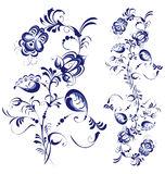 Floral abstraction. Floral ornament elements isolated on white background Stock Photo