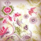 Floral abstracto y pájaros Imagen de archivo libre de regalías