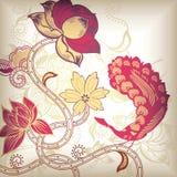 Floral abstracto y pavo real Imágenes de archivo libres de regalías