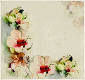 Floral aged postcard with stylized spring flowers Stock Photography