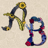 Floral alphabet Stock Image
