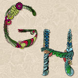 Floral alphabet Royalty Free Stock Images