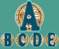 Floral alphabet khokhloma Stock Images