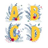 Floral alphabet, letter a, b, c, d set. Alphabet, letter a, b, c, d in floral design with flowers and plants. Colorful ABC type in vector stock illustration