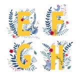 Floral alphabet, letter e, f, g, h set. Alphabet, letter e, f, g, h set in floral design with flowers and plants. Colorful ABC font in vector royalty free illustration