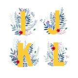 Floral alphabet, letter i, j, k, l set. Alphabet, letter i, j, k, l set in floral design with flowers and plants. Colorful ABC font in vector royalty free illustration