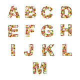 Floral alphabet [A - M] set stock illustration
