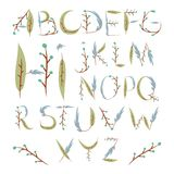 Floral alphabet made of berries and leaves. Hand drawn summer fo Royalty Free Stock Image
