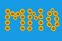 Floral alphabet made from flowers of sunflower. Stock Photos