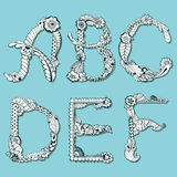 Floral alphabet mehndi Royalty Free Stock Photography