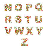 Floral alphabet [N - Z] set stock illustration