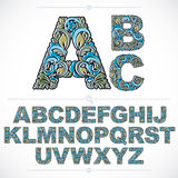 Floral alphabet sans serif letters drawn using abstract vintage Stock Images