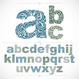 Floral alphabet sans serif letters drawn using abstract vintage Royalty Free Stock Images