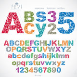 Floral alphabet sans serif letters and numbers drawn  Stock Photography