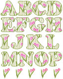 Floral alphabet set, letters A - P Royalty Free Stock Image