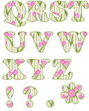 Floral alphabet set, letters Q - Z Royalty Free Stock Photography