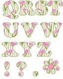 Floral alphabet set, letters Q - Z Royalty Free Stock Photography