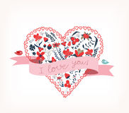 Floral amazing Lovei love you with heart romantic card Stock Photos