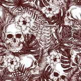 Floral anatomy. Halloween tropical vintage seamless pattern. Creppy jungle skull background. Creppy jungle skull background. Floral anatomy. Halloween tropical royalty free illustration