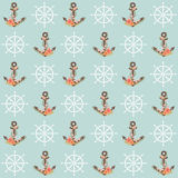 Floral anchor seamless pattern Stock Photo