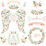 Floral Angel Wing Easter Elements Stock Photography