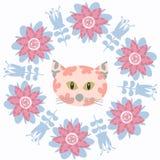 Floral animal cat  card Royalty Free Stock Photos