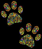 Floral animal paw print on black background. Vector illustration of floral animal paw print on black background Stock Images
