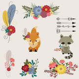 Floral and animals icons Stock Photo
