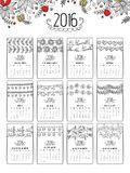 Floral Annual Calendar for New Year 2016. Royalty Free Stock Photos