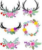 Floral Antlers and Deer Head Elements. The  Floral Antlers Elements is vector illustration Royalty Free Stock Photography