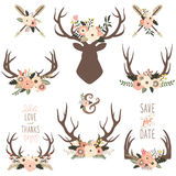 Floral Antlers Elements Royalty Free Stock Image