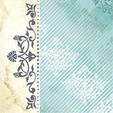 Floral arabesque background in blue and gold Stock Photo