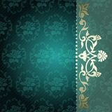 Floral arabesque background in green and gold stock illustration