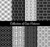 Floral arabic pattern set. Black and white modern arabesque vector seamless patterns. Collection of monochrome arabic background illustration royalty free illustration
