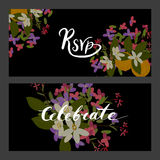 Floral arabis and orange flowers retro vintage background Stock Photography
