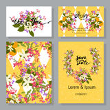 Floral arabis and orange flowers retro vintage background Royalty Free Stock Photos