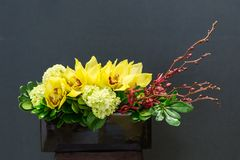 Floral arangement with cymbidium, Hydrangea, Orchid in rectangul Royalty Free Stock Photos