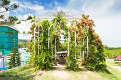 Floral arch and landscape view in garden of 7 heaven krabi thail Royalty Free Stock Images