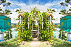 Floral arch and landscape view in garden of 7 heaven krabi thail Stock Photo