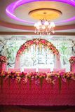 Floral arch and a table Royalty Free Stock Image
